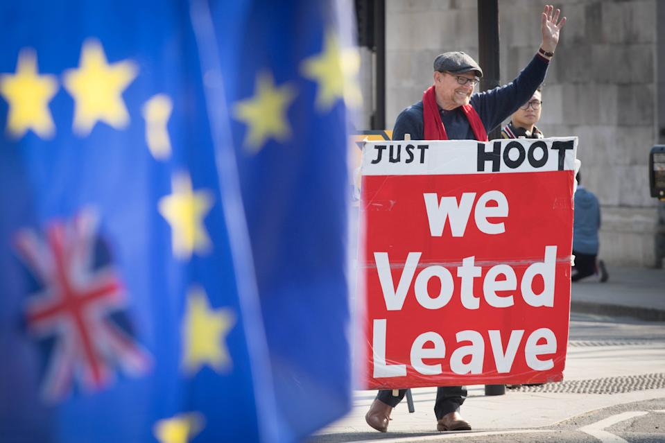 Leave and remain protesters outside the Houses of Parliament, London, ahead of the latest round of debates in the House of Commons concerning Brexit issues.