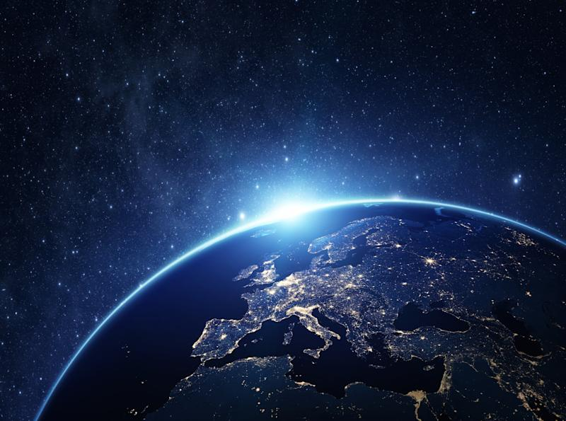 Planet earth shown from a distance.