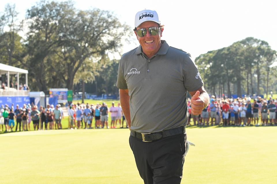 PONTE VEDRA BEACH - OCTOBER 10: Phil Mickelson gives thumbs up while walking off the 18th green during the final round of the PGA TOUR Champions Constellation FURYK & FRIENDS presented by Circle K at Timuquana Country Club on October 10, 2021 in Jacksonville, Florida. (Photo by Ben Jared/PGA TOUR via Getty Images)