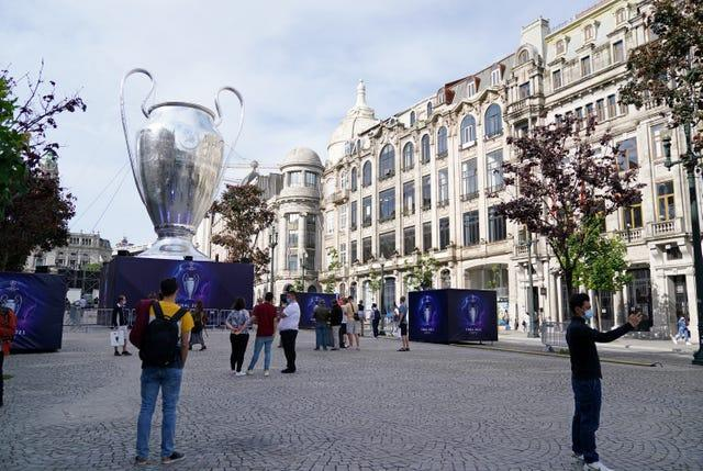 A view of a giant replica trophy in Porto