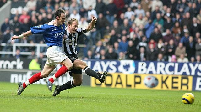 Alan Shearer scores his 201st goal for Newcastle against Portsmouth