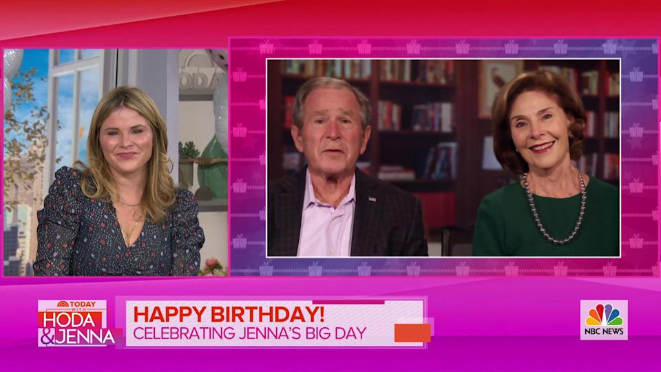 Jenna was delighted seeing a message from her parents, former President George W. Bush and Laura Bush. (TODAY)