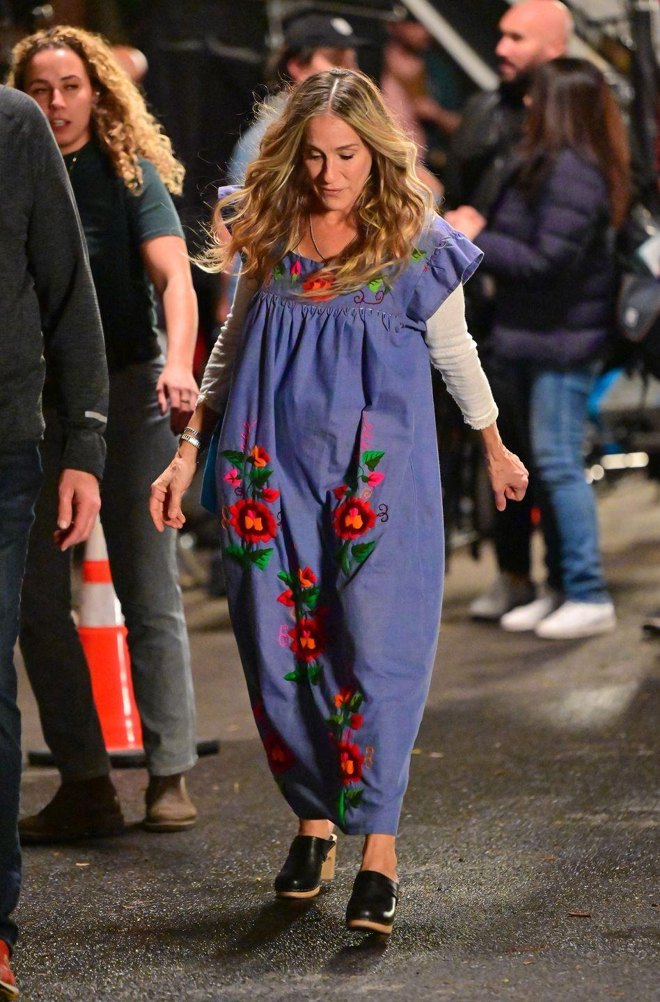 <p>The star was seen wearing heeled black clogs and an oversized floral-embroidered jumpsuit, teamed with a white long-sleeved blouse. </p>