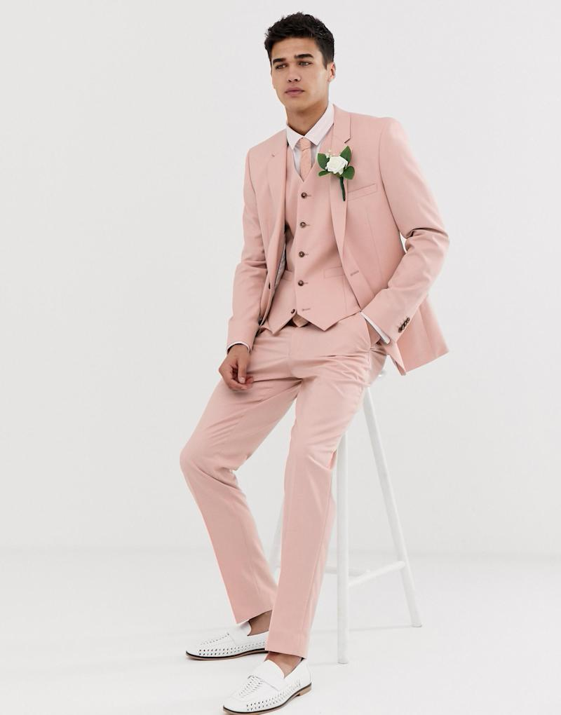 ASOS DESIGN wedding skinny suit in rose pink (ASOS)