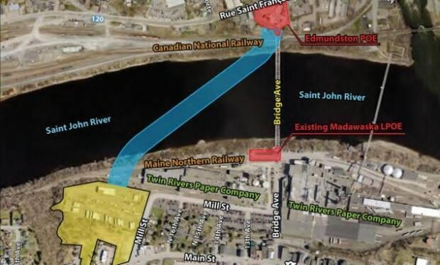 The bridge would be built at an angle across the St. John River so a new U.S. border entry point about 400 metres upriver can be built.