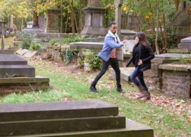 Aston and Janette rehearsed in a graveyard. Copyright: [BBC]