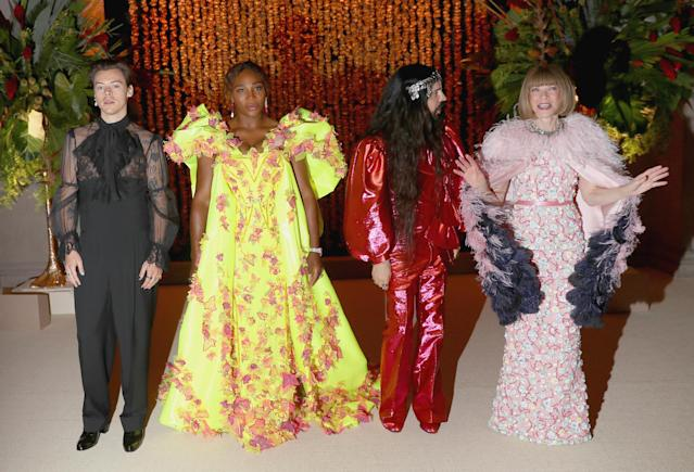 (L-R) Co-hosts Harry Styles, Serena Williams, Alessandro Michele and Anna Wintour attend The 2019 Met Gala Celebrating Camp: Notes on Fashion at Metropolitan Museum of Art on May 06, 2019 in New York City. (Photo by Kevin Tachman/MG19/Getty Images for The Met Museum/Vogue)