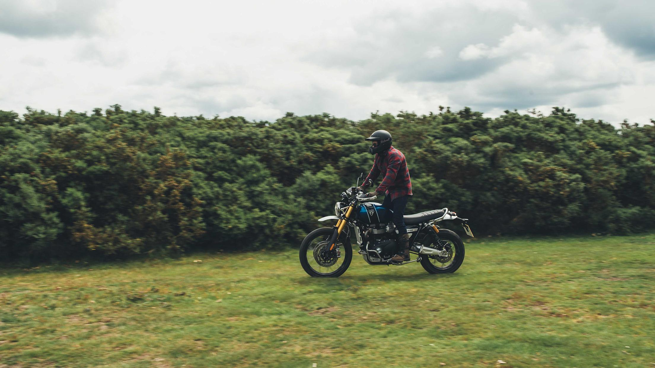 The Scrambler's upright riding position helps off road