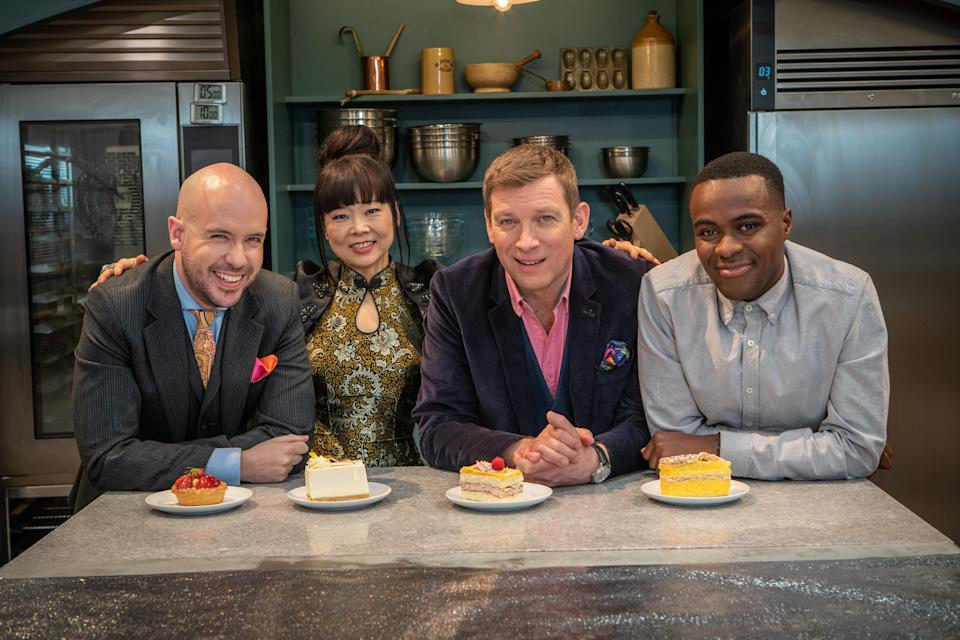 Tom Allen with 'Bake Off: The Professionals' judges Cherish Finden and Benoit Blin and co-host Liam Charles (Channel 4)