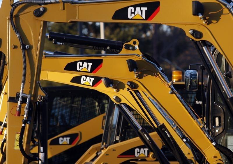 CAT machines are seen on a lot at Milton CAT in North Reading, Massachusetts
