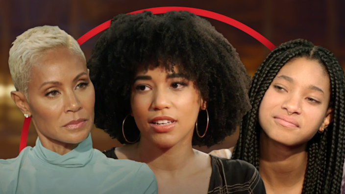 """Jada Pinkett Smith (left) and daughter Willow Smith (right) discuss polyamory on this week's """"Red Table Talk"""" with guest Gabrielle Smith (center)."""