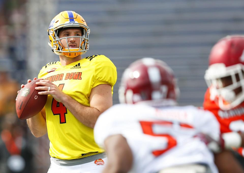 Pitt's Nathan Peterman might be the best Senior Bowl QB, but he's not the next Carson Wentz. (AP)