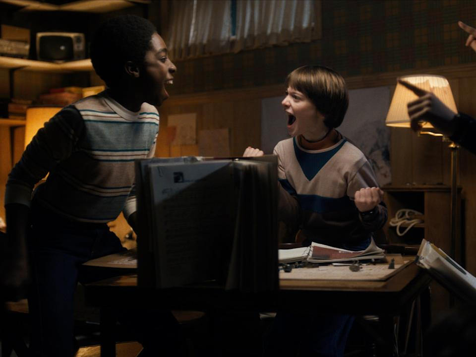 The Stranger Things kids enjoy a game of D&D during season one of the hit Netflix sci-fiNetflix