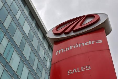 The logo of Mahindra and Mahindra is seen at a showroom in Mumbai
