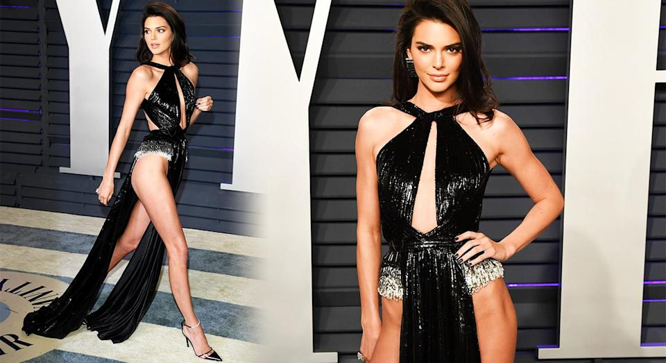 Kendall Jenner left little to the imagination in her Oscars after party dress. [Photo: Getty]