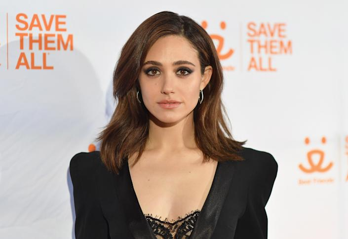 Emmy Rossum shared her 2-month-old daughter's photo to encourage fans to get vaccinated against COVID-19. (Photo: ANGELA WEISS/AFP via Getty Images)
