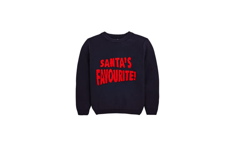 """<p><a href=""""https://www.very.co.uk/mini-v-by-very-santas-favourite-knitted-christmas-jumper/1600268609.prd?Ntt=christmas%20jumper"""" rel=""""nofollow noopener"""" target=""""_blank"""" data-ylk=""""slk:Very, from £10"""" class=""""link rapid-noclick-resp""""><em>Very, from £10</em></a> </p>"""