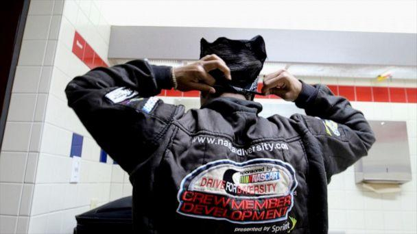 PHOTO: Tire changer Brehanna Daniels is one of the only women who pit for NASCAR (Janet Weinstein/ABC News)