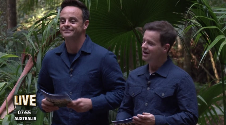 Ant McPartlin and Declan Donnelly talk to camp in I'm a Celebrity