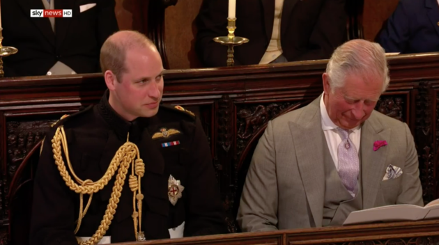 Prince William, next to his father Prince Charles, both appeared to be enjoying the service.