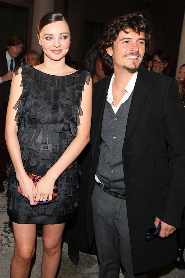 """Miranda Kerr and Orlando Bloom secretly wed at an undisclosed location -- reportedly in the Caribbean -- one month after getting engaged. The model is expecting the couple's first child in early 2011. Jacopo Raule/<a href=""""http://www.gettyimages.com/"""" target=""""new"""">GettyImages.com</a> - September 25, 2010"""