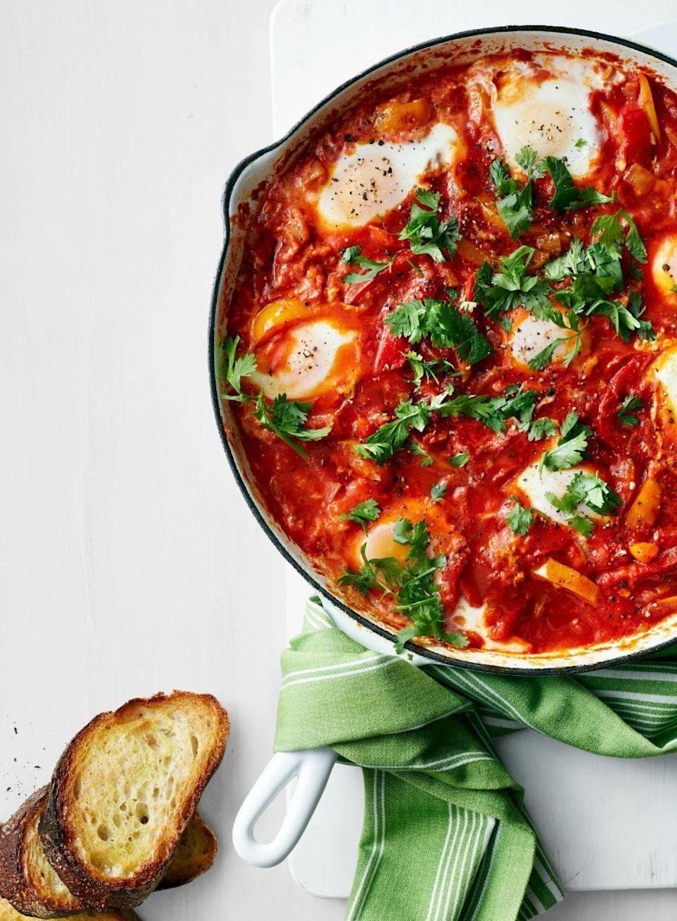 "<p>Kids will love getting to dip their toast into this delicious and zesty stew.</p><p><em><a href=""https://www.womansday.com/food-recipes/food-drinks/recipes/a51825/stewed-peppers-and-tomatoes-with-eggs/"" rel=""nofollow noopener"" target=""_blank"" data-ylk=""slk:Get the Stewed Peppers and Tomatoes with Eggs recipe."" class=""link rapid-noclick-resp"">Get the Stewed Peppers and Tomatoes with Eggs recipe.</a></em></p>"