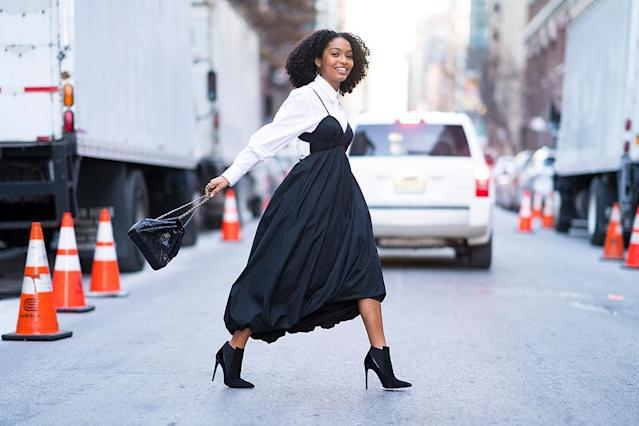 <p>The <em>Grown-ish</em> star was looking like the picture of Manhattan fashion as she was photographed in the Big Apple on Wednesday. (Photo: TheStewartofNY/Getty Images) </p>