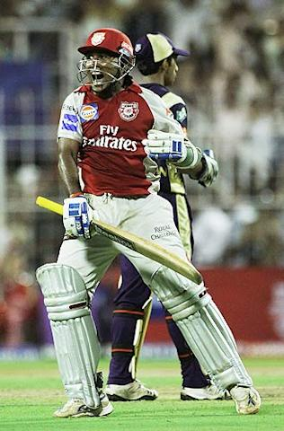 Mahela Jayawardene celebrates on scoring his century during the 2010 Indian Premier League T20 group stage match between Kolkata Knight Riders and  Kings XI Punjab played at Eden Gardens in Kolkata. (Getty Images)
