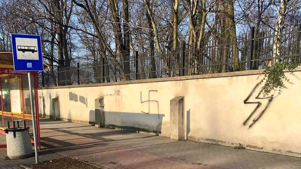 The Oświęcim Jewish cemetery was vandalised with Nazi symbols. Source: Twitter/@AuschwitzMuseum