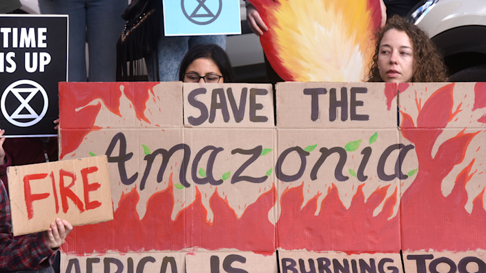 Protesters in many countries were angry about fires in Brazil