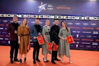 "Contestants D mol of Montenegro pose on the ""Orange Carpet"" during the opening ceremony of the 2019 Eurovision Song Contest in Tel Aviv, Israel May 12, 2019. REUTERS/Amir Cohen"