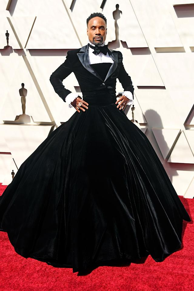 "<strong>Billy Porter,</strong> Broadway actor whose star is only rising, wore a <strong>Christian Siriano</strong> ""tuxedo dress"" to the Oscars. After it made a splash, he wrote in <em><a href=""https://www.vogue.com/article/billy-porter-oscars-red-carpet-gown-christian-siriano?mbid=synd_yahoo_rss"">Vogue</a>,</em> ""I believe men on the red carpet would love to play more. This industry masquerades itself as inclusive, but actors are afraid to play, because if they show up as something outside of the status quo, they might be received as feminine, and, as a result, they won't get that masculine job, that superhero job. And that's the truth. I've been confronted with that."""
