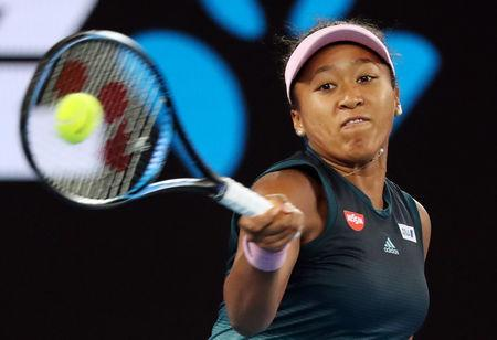 Tennis - Australian Open - Women's Singles Final - Melbourne Park, Melbourne, Australia, January 26, 2019. Japan's Naomi Osaka in action during the match against Czech Republic's Petra Kvitova. REUTERS/Lucy Nicholson