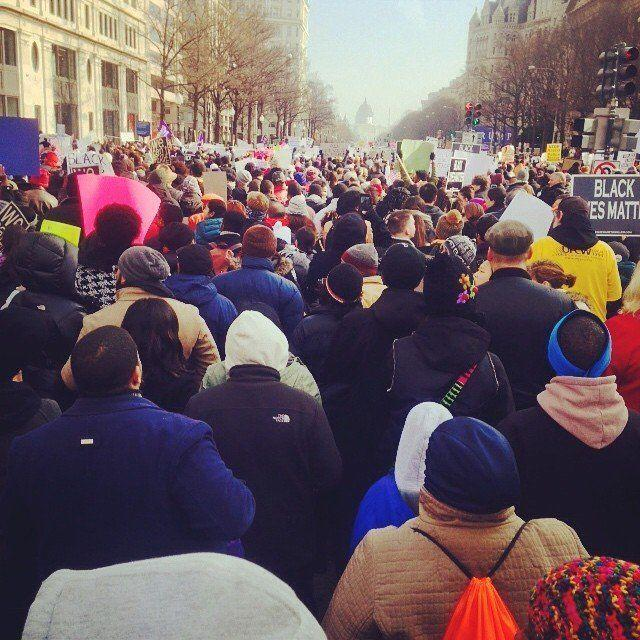 Protesters march toward the U.S. Capitol.