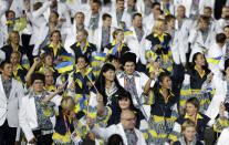 Athletes from Ukraine march in a parade during the Opening Ceremony at the 2012 Summer Olympics, Friday, July 27, 2012, in London. (AP Photo/Mark Humphrey)