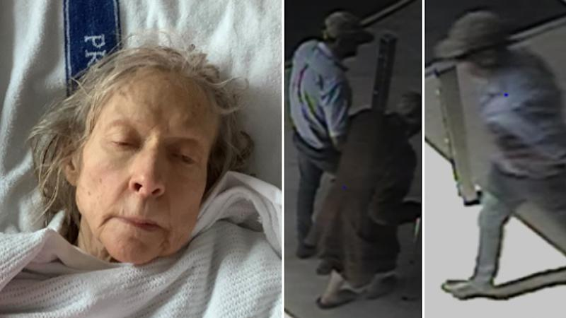 An unidentified woman in a hospital bed (left) and CCTV stills of a man walking her to a hospital.