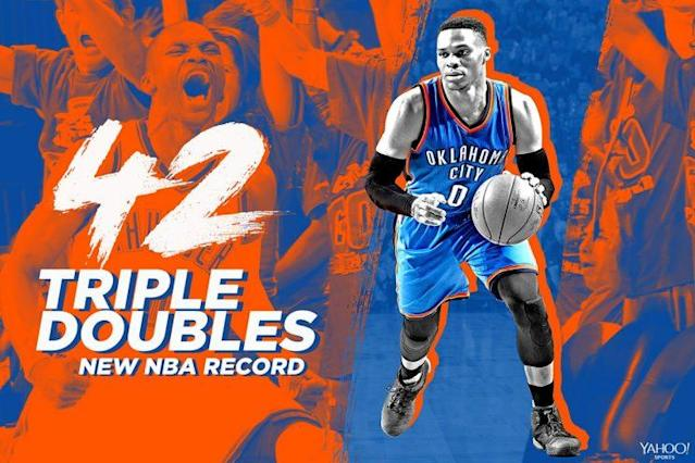 Russell Westbrook recorded his record-breaking 42nd triple-double of the season on Sunday.