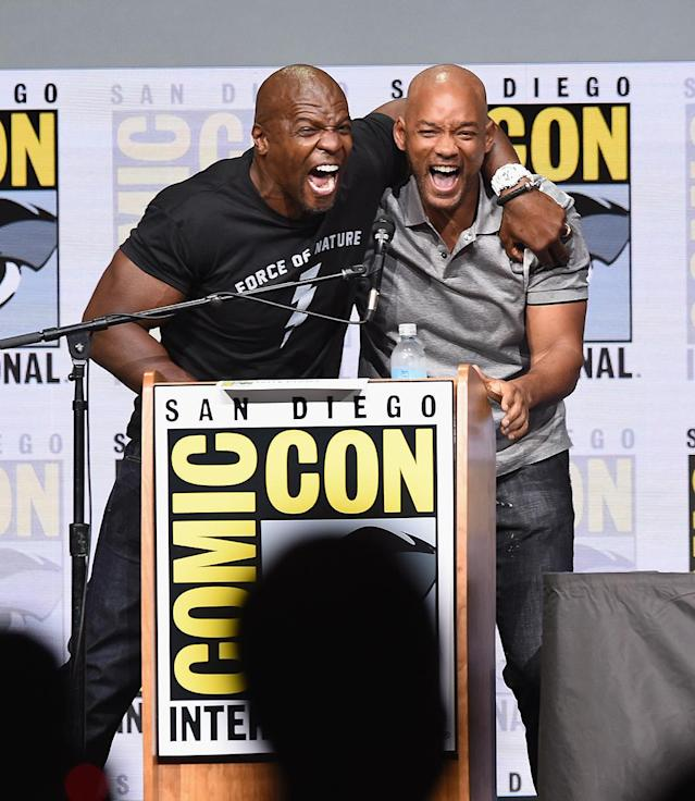 <p>\Terry Crews and Will Smith at Netflix Films Comic-Con panel on July 20, 2017, in San Diego. (Photo: Kevin Winter/Getty Images) </p>