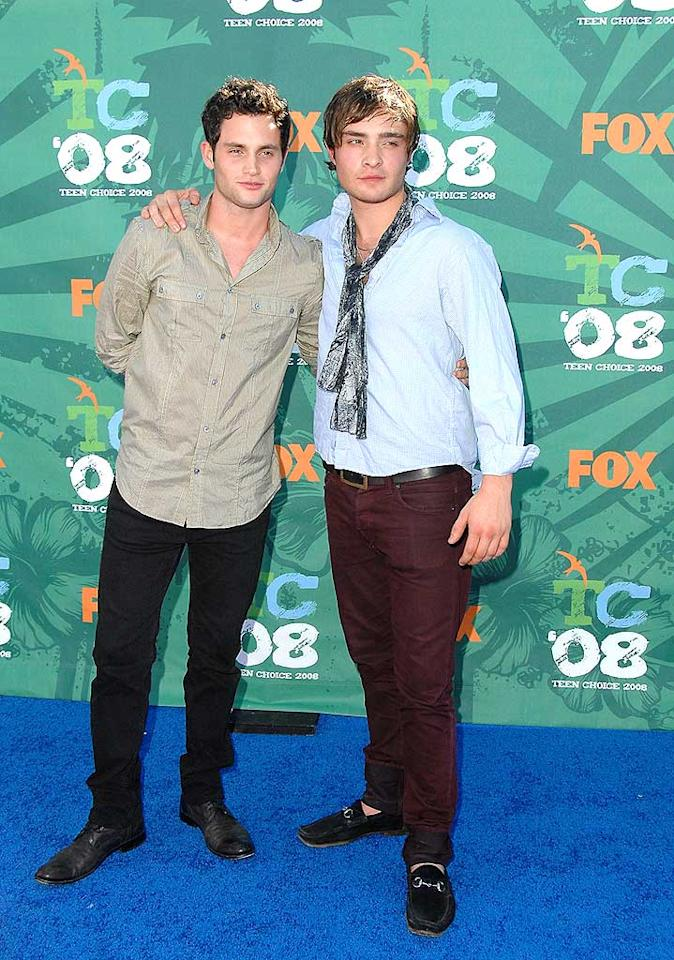 """""""Gossip Girl"""" co-stars and BFFs Penn Badgley and Ed Westwick posed for the photographers ... and the screaming fans. Jon Kopaloff/<a href=""""http://www.filmmagic.com/"""" target=""""new"""">FilmMagic.com</a> - August 3, 2008"""