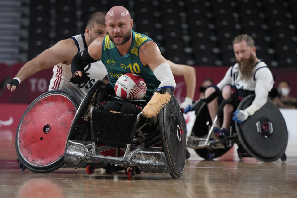 Australia's Chris Bond competes during a semifinal wheelchair rugby match against the United States at the Tokyo 2020 Paralympic Games, Saturday, Aug. 28, 2021, in Tokyo, Japan. (AP Photo/Kiichiro Sato)