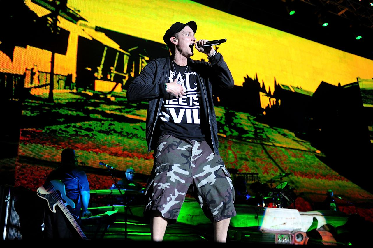 MANCHESTER, TN - JUNE 11:  Eminem performs during the 2011 Bonnaroo Music And Arts Festival on June 11, 2011 in Manchester, Tennessee.  (Photo by Jason Merritt/Getty Images)
