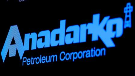 FILE PHOTO: The logo for Anadarko Petroleum Corp. is displayed on a screen on the floor at the NYSE in New York