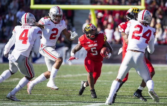 Maryland Terrapins running back Anthony McFarland (5) during a game against Ohio State (Getty Images).