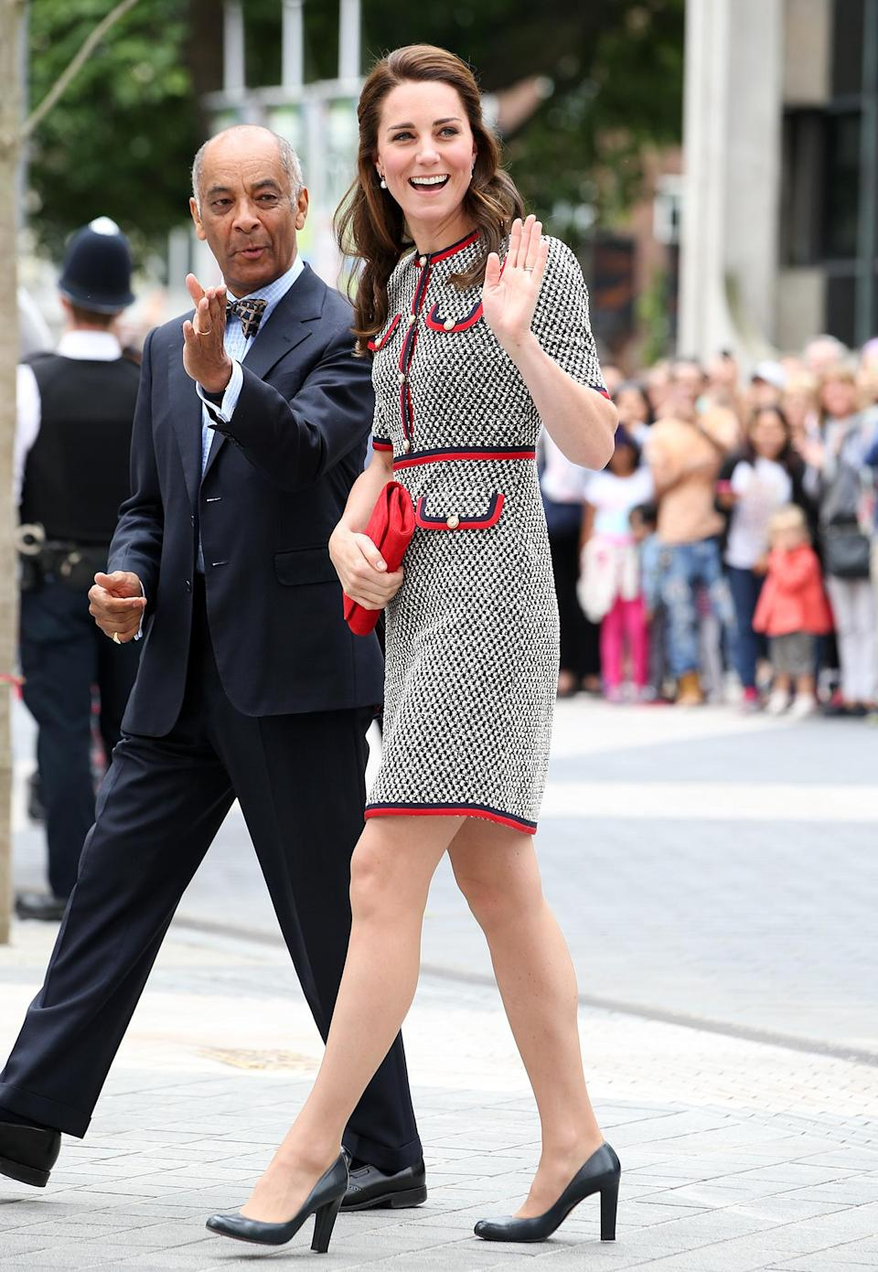 <p><strong>When:</strong> June 29, 2017 <strong>Where:</strong> The unveiling of a commemorative plaque to mark the opening of the V&A Exhibition Road Quarter in London. <strong>Wearing:</strong> Gucci wool silk dress <strong>Get the Look:</strong> Gucci Wool Silk Dress with Web, $2,700; <span>neimanmarcus.com</span> Karl Lagerfeld Paris Sleeveless Tweed Dress, $128; <span>lordandtaylor.com</span> Boden Heather Tweed Dress, $83.20; <span>bodenusa.com</span></p>