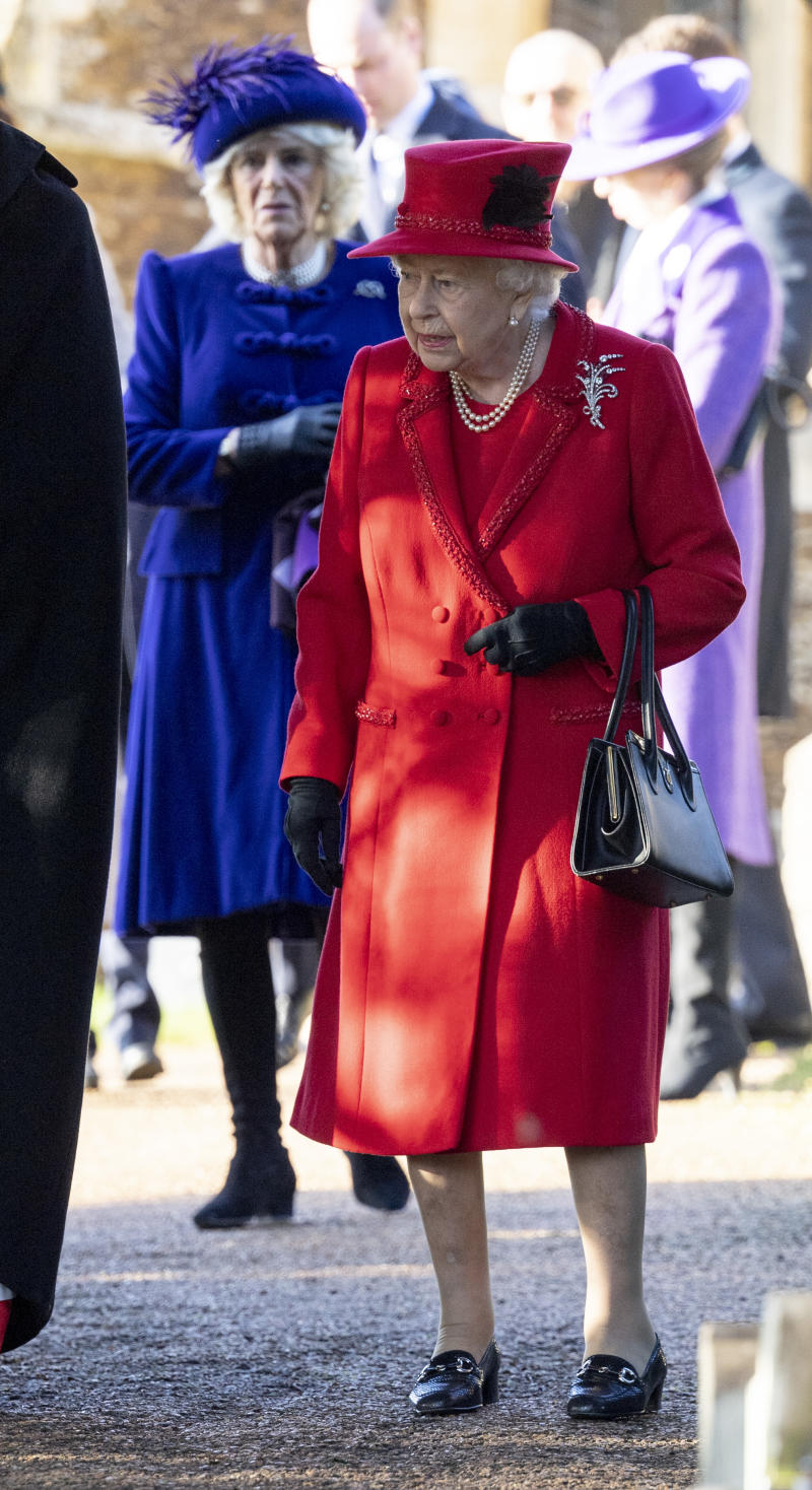 Queen Elizabeth II and Camilla, Duchess of Cornwall attend the Christmas Day Church service at Church of St Mary Magdalene on the Sandringham estate on December 25, 2019 in King's Lynn, United Kingdom.