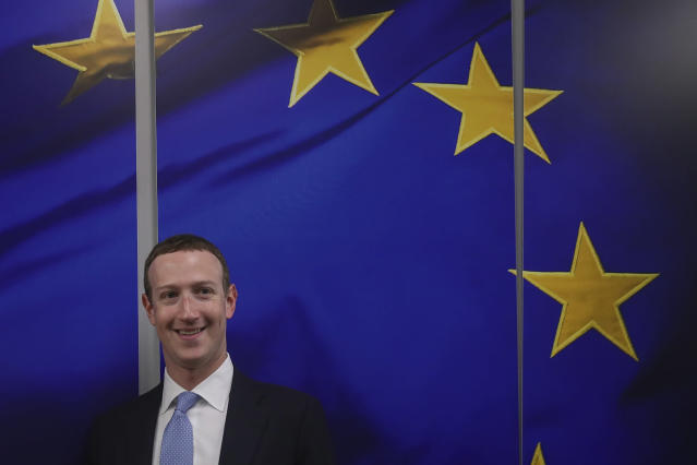 Facebook CEO Mark Zuckerberg prior to a meeting with European Commissioner for Values and Transparency Věra Jourová at EU headquarters in Brussels in February.
