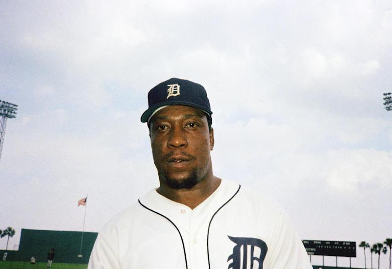 FILE - In this 1975, file photo, Gates Brown, outfielder for the Detroit Tigers baseball team, poses for a photo. Brown, who played his entire 13-year major league career with the Tigers, has died, the team confirmed on Friday, Sept. 27, 2013. He was 74. (AP Photo/Preston Stroup, File)
