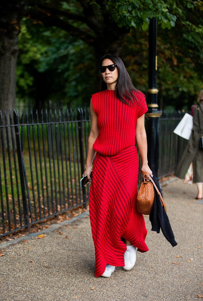 <p>We love the fiery red on this easy knit set. </p>