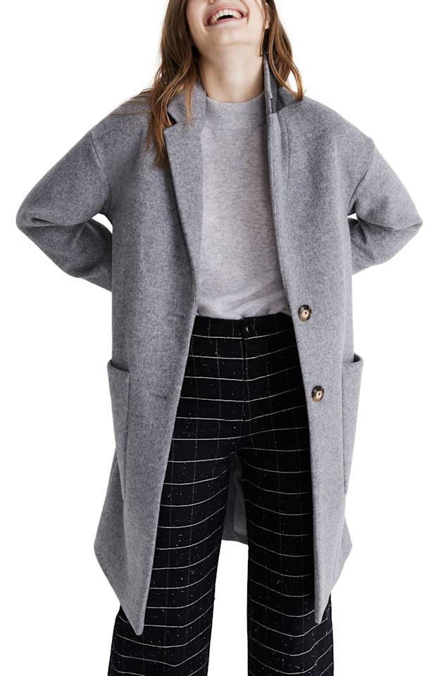 """<p>This <a href=""""https://www.popsugar.com/buy/Madewell-Elmcourt-Coat-533132?p_name=Madewell%20Elmcourt%20Coat&retailer=shop.nordstrom.com&pid=533132&price=174&evar1=fab%3Aus&evar9=44343600&evar98=https%3A%2F%2Fwww.popsugar.com%2Ffashion%2Fphoto-gallery%2F44343600%2Fimage%2F47028778%2FMadewell-Elmcourt-Coat&list1=shopping%2Csales%2Cwinter%2Csale%20shopping&prop13=mobile&pdata=1"""" rel=""""nofollow"""" data-shoppable-link=""""1"""" target=""""_blank"""" class=""""ga-track"""" data-ga-category=""""Related"""" data-ga-label=""""https://shop.nordstrom.com/s/madewell-elmcourt-coat/5406143/full?origin=keywordsearch-personalizedsort&amp;breadcrumb=Home%2FAll%20Results&amp;color=melange%20camel"""" data-ga-action=""""In-Line Links"""">Madewell Elmcourt Coat</a> ($174, originally $248) is the perfect everyday piece.</p>"""