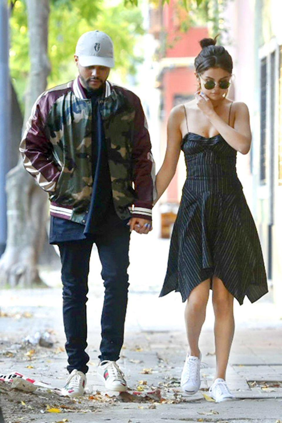 <p>In an Isabel Marant dress with Converse x Jack Purcell sneakers while out on a date with The Weeknd in Buenos Aires.</p>